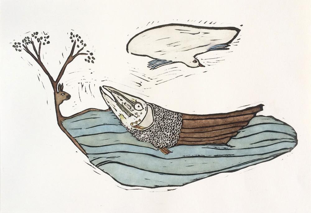 walvis, ingekleurde linosnede