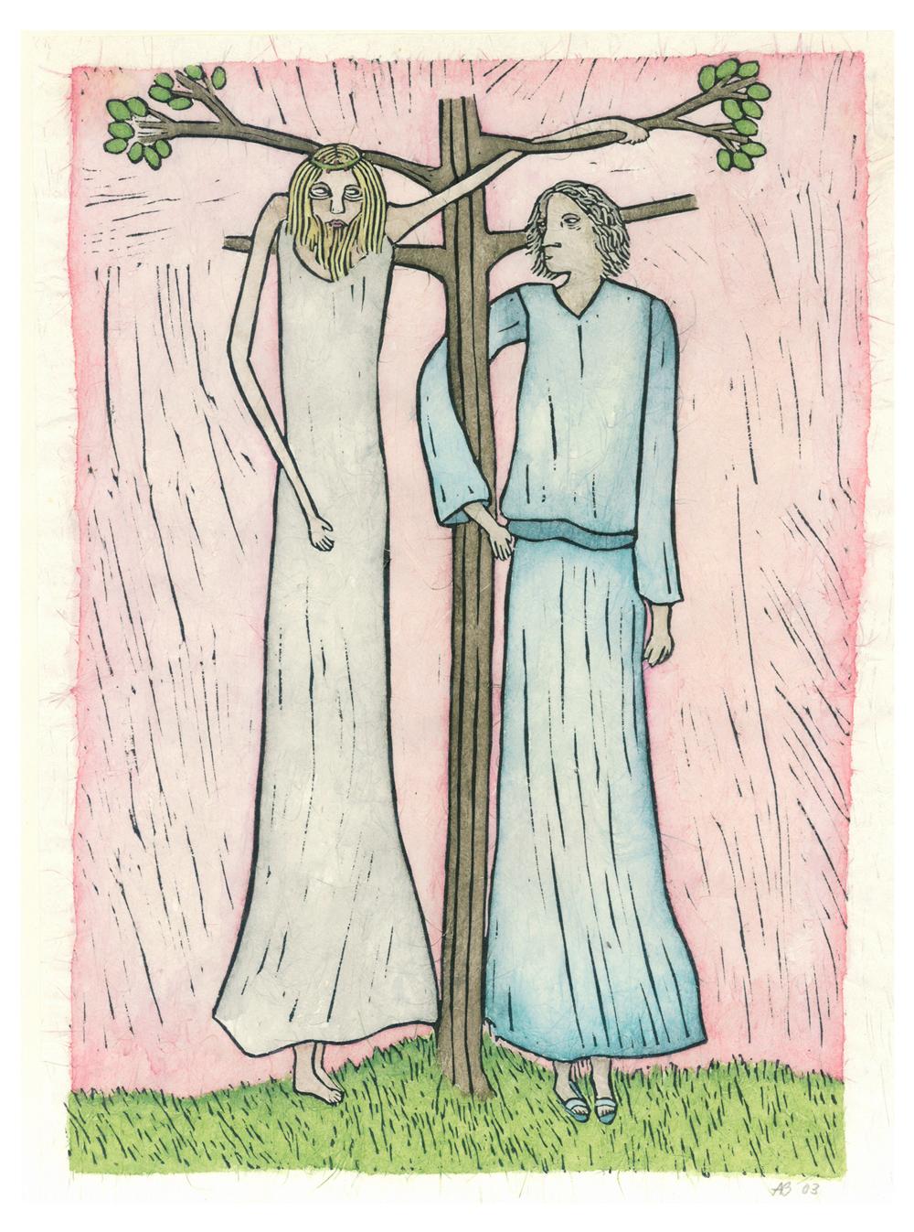 ...en de boom bloeit V kruisweg ingekleurde linosnede