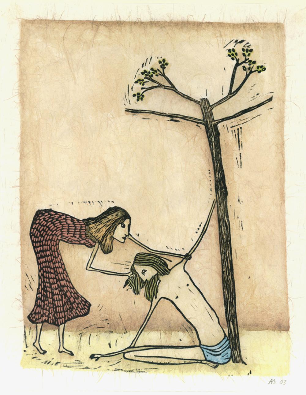 ...en de boom bloeit IV kruisweg ingekleurde linosnede
