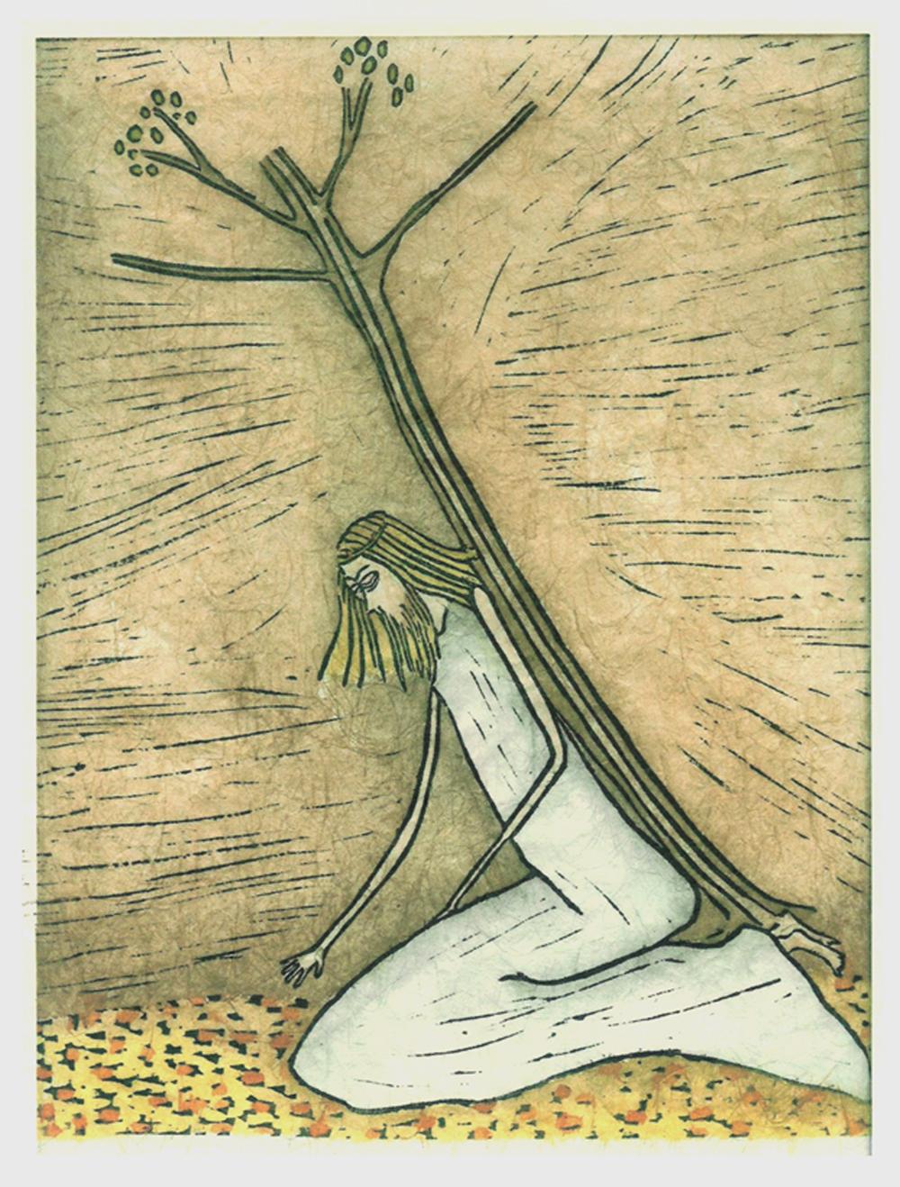 ...en de boom bloeit IX kruisweg, met de hand ingeschilderde linosnede