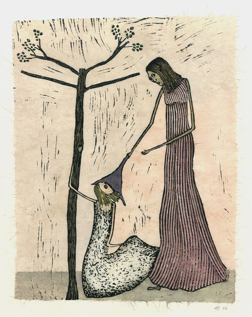 ...en de boom bloeit VI kruisweg, ingekleurde linosnede