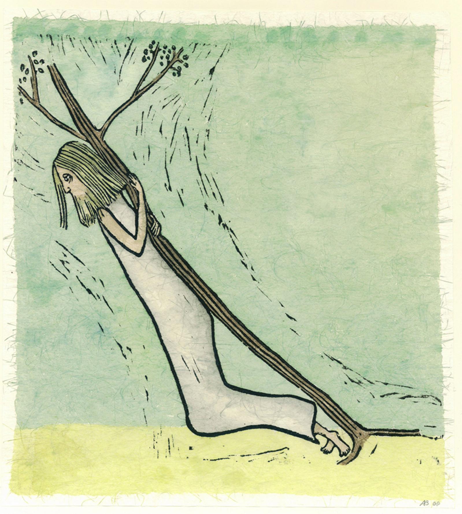 ...en de boom bloeit VII kruisweg, ingekleurde linosnede