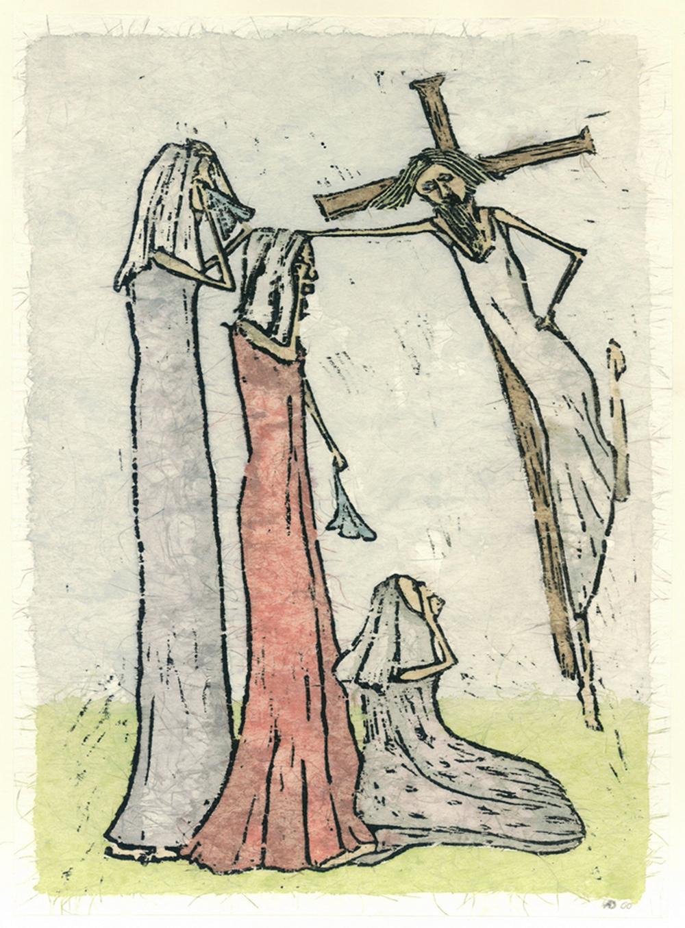 ...en de boom bloeit VIII kruisweg, ingekleurde houtsnede