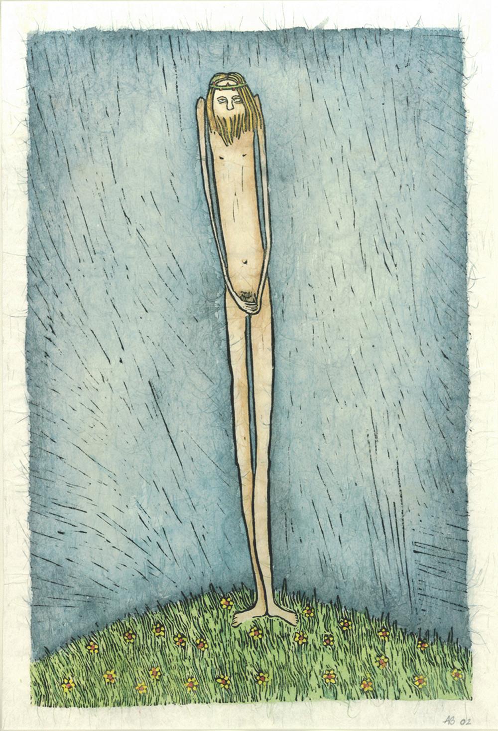 ...en de boom bloeit X kruisweg, ingekleurde linosnede