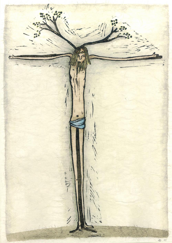 ...en de boom bloeit XII kruisweg, ingekleurde linosnede